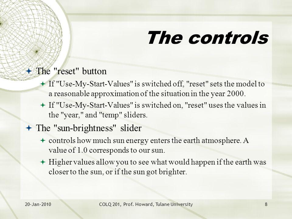 20-Jan-2010COLQ 201, Prof. Howard, Tulane University8 The controls  The