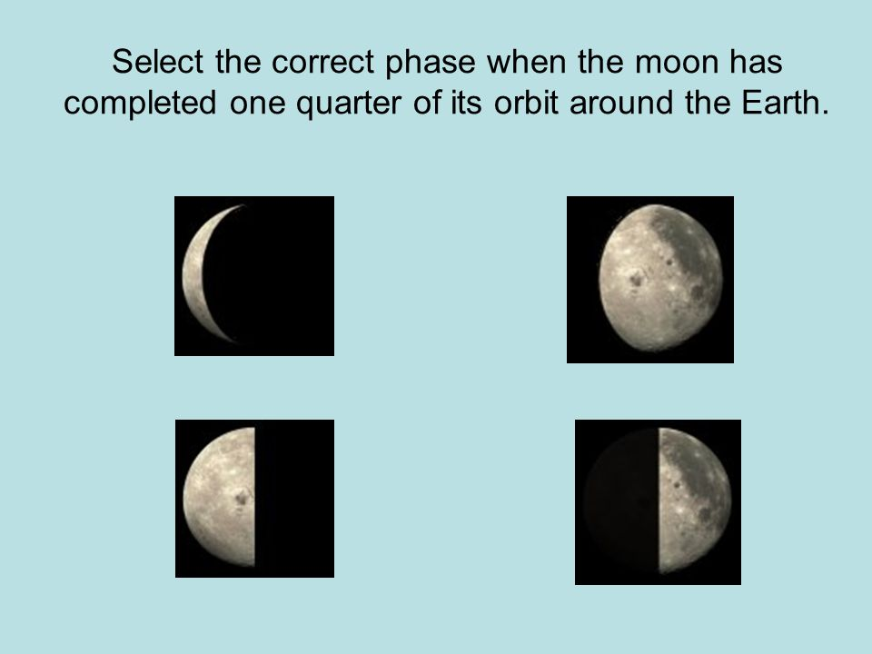 Select the correct phase when the moon has completed one quarter of its orbit around the Earth.