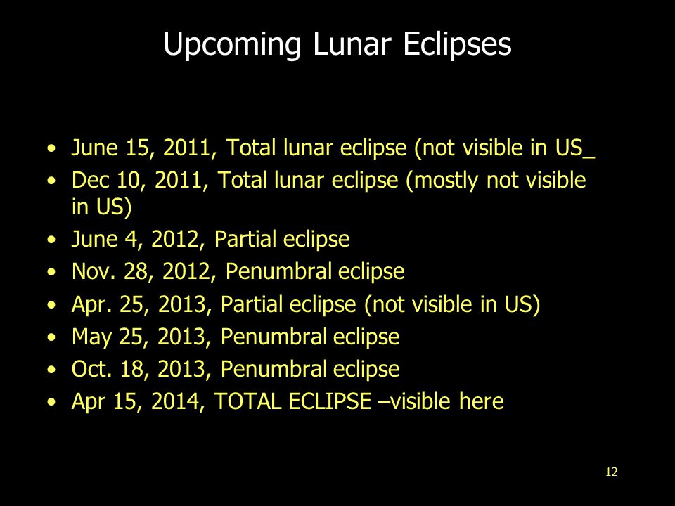 12 Upcoming Lunar Eclipses June 15, 2011, Total lunar eclipse (not visible in US_ Dec 10, 2011, Total lunar eclipse (mostly not visible in US) June 4, 2012, Partial eclipse Nov.