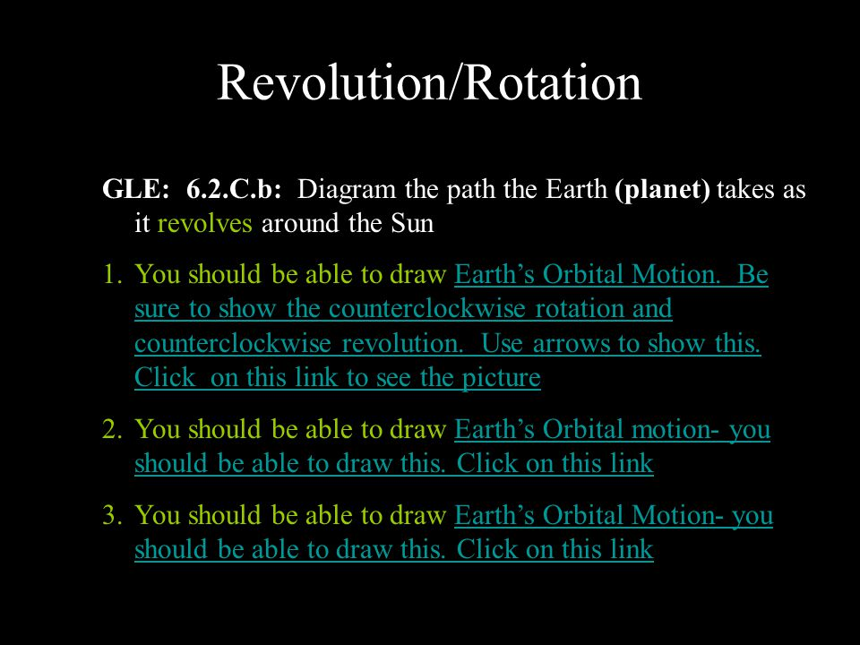 Revolution/Rotation GLE: 6.2.C.b: Diagram the path the Earth (planet) takes as it revolves around the Sun 1.You should be able to draw Earth's Orbital Motion.