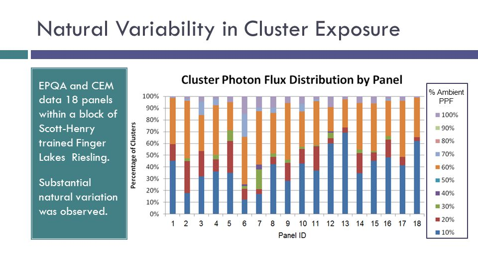 Natural Variability in Cluster Exposure EPQA and CEM data 18 panels within a block of Scott-Henry trained Finger Lakes Riesling.