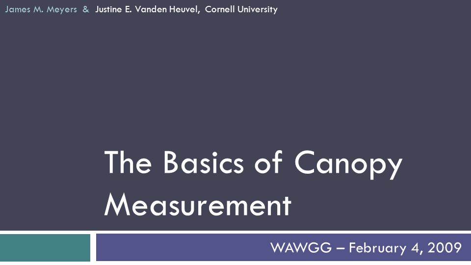 The Basics of Canopy Measurement WAWGG – February 4, 2009 James M.