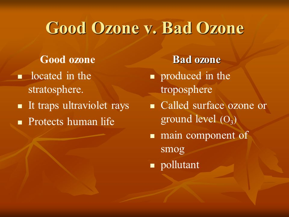 Good Ozone v. Bad Ozone Good ozone located in the stratosphere.