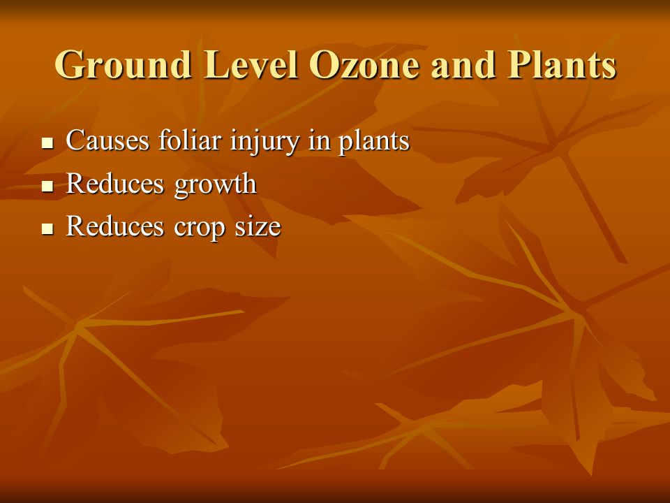 Ground Level Ozone and Plants Causes foliar injury in plants Causes foliar injury in plants Reduces growth Reduces growth Reduces crop size Reduces cr