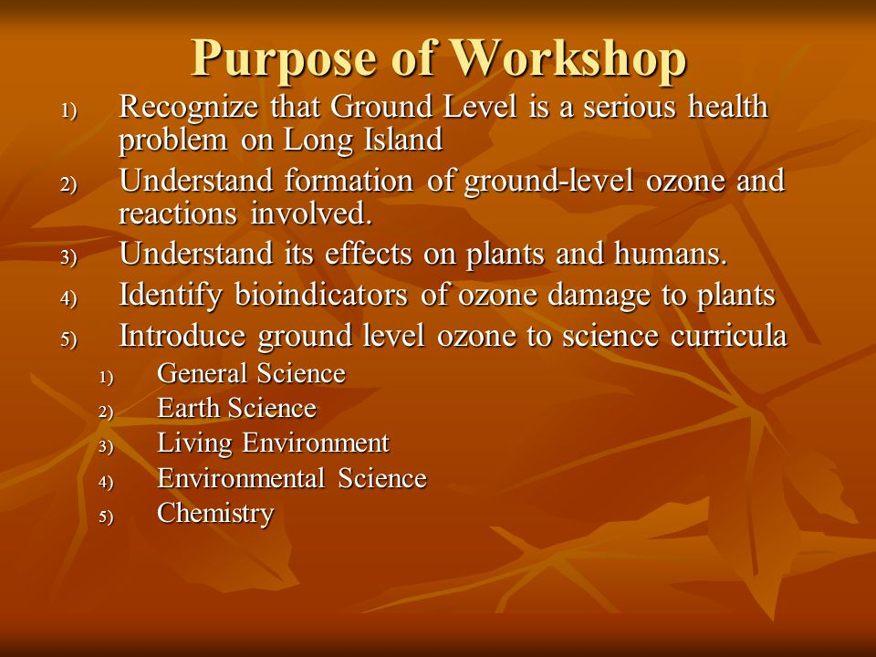 Purpose of Workshop 1) Recognize that Ground Level is a serious health problem on Long Island 2) Understand formation of ground-level ozone and reactions involved.
