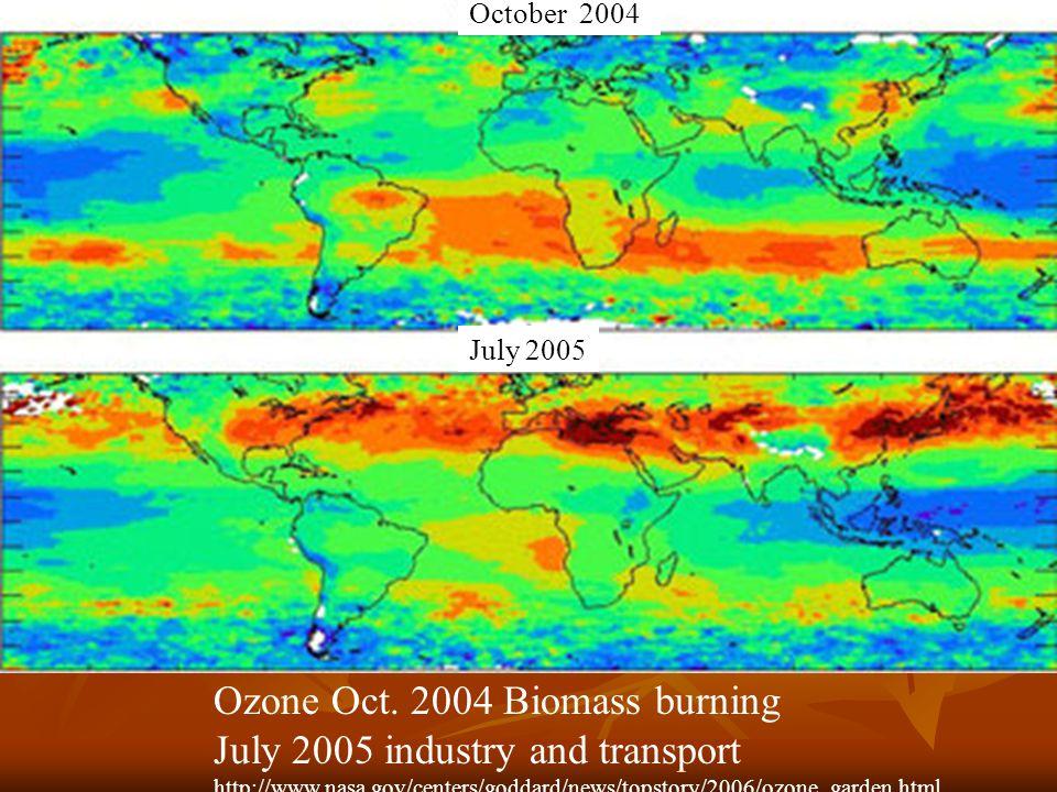 Ozone Oct. 2004 Biomass burning July 2005 industry and transport http://www.nasa.gov/centers/goddard/news/topstory/2006/ozone_garden.html July 2005 Oc