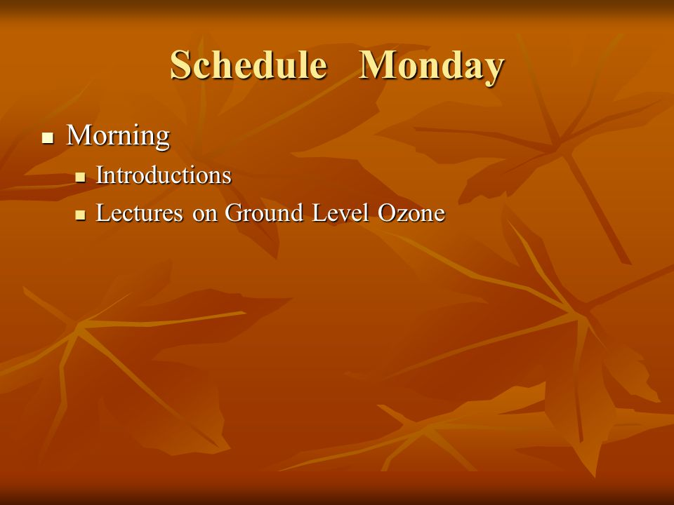 Schedule Monday Morning Morning Introductions Introductions Lectures on Ground Level Ozone Lectures on Ground Level Ozone