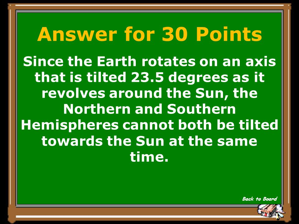 Question for 30 Points Why are the seasons opposite in the Northern and Southern Hemispheres? Show Answer