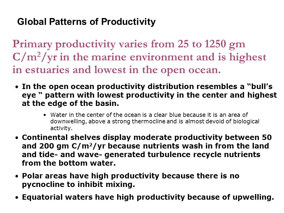 Primary productivity varies from 25 to 1250 gm C/m 2 /yr in the marine environment and is highest in estuaries and lowest in the open ocean. In the op