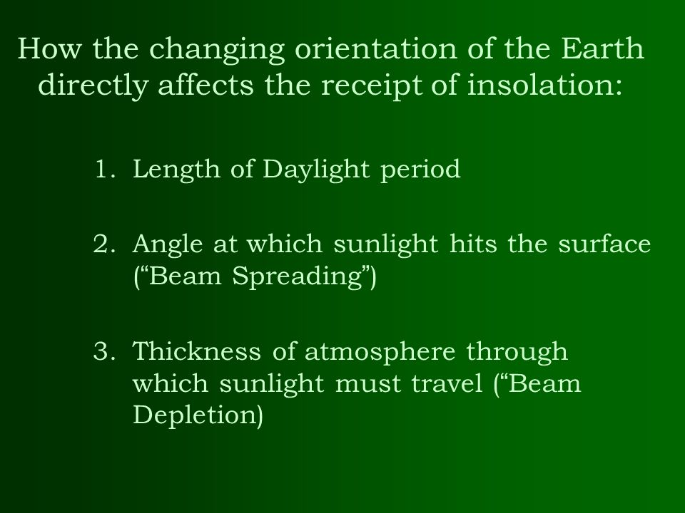 How the changing orientation of the Earth directly affects the receipt of insolation: 1.Length of Daylight period 2.Angle at which sunlight hits the s