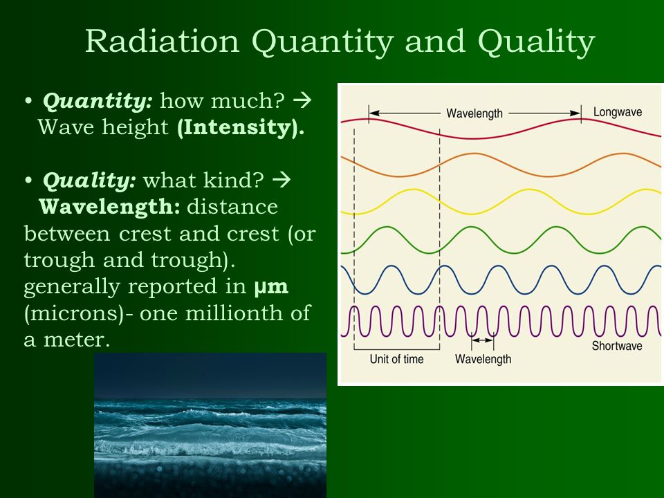 Radiation Quantity and Quality Quantity: how much?  Wave height (Intensity). Quality: what kind?  Wavelength: distance between crest and crest (or t