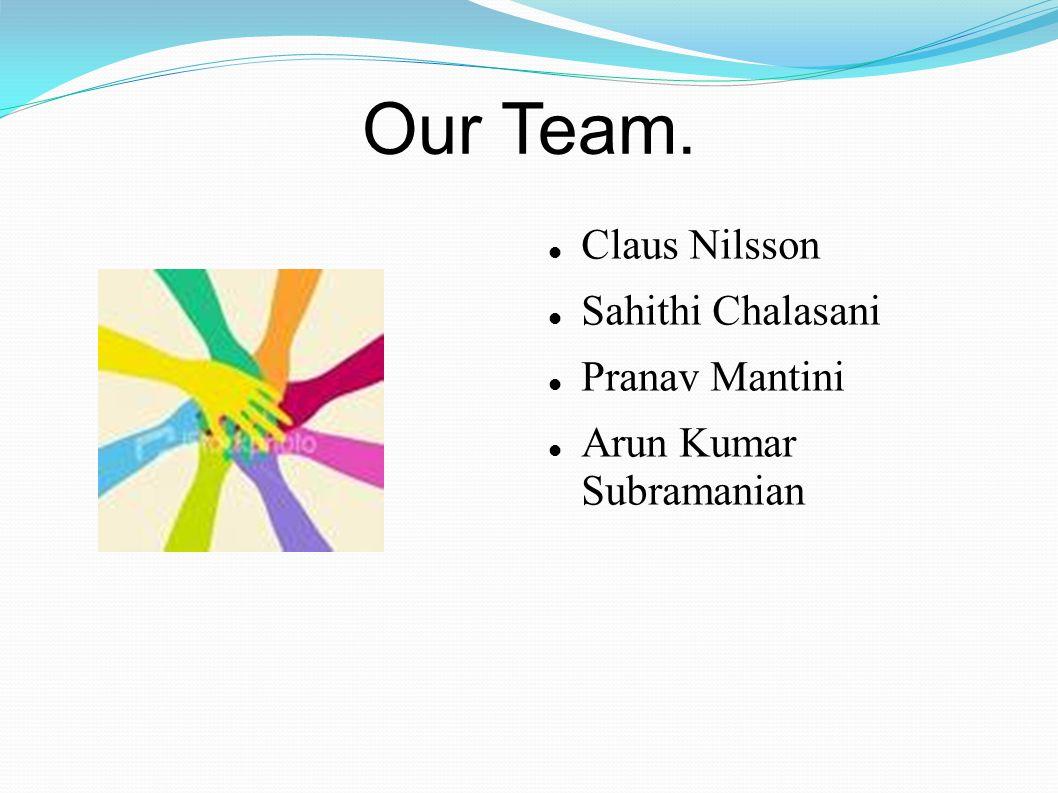 Our Team. Claus Nilsson Sahithi Chalasani Pranav Mantini Arun Kumar Subramanian