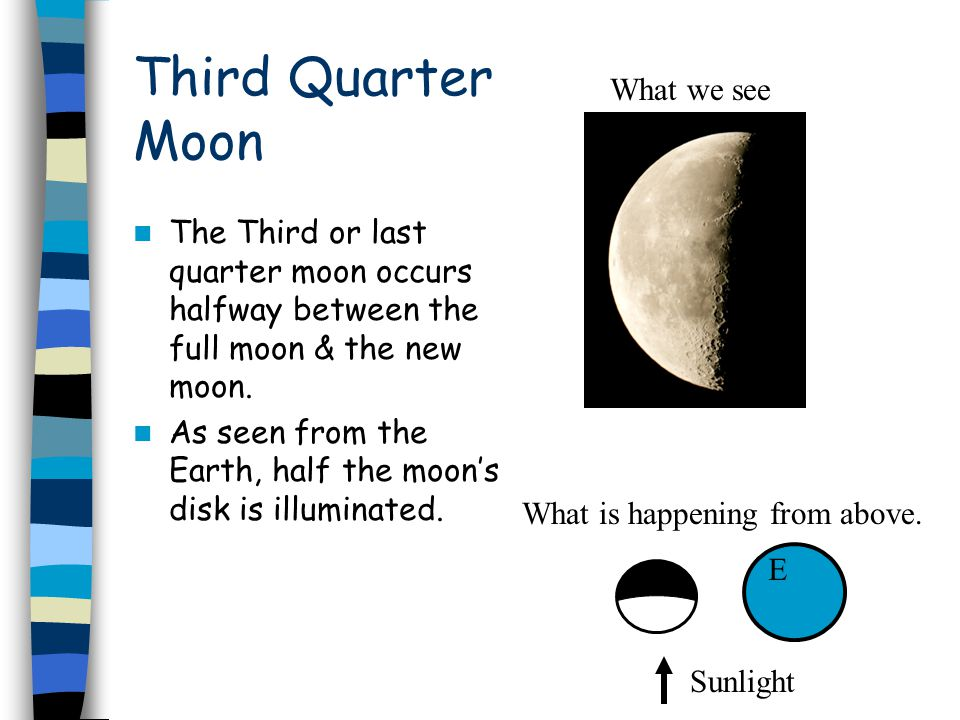 Third Quarter Moon The Third or last quarter moon occurs halfway between the full moon & the new moon.