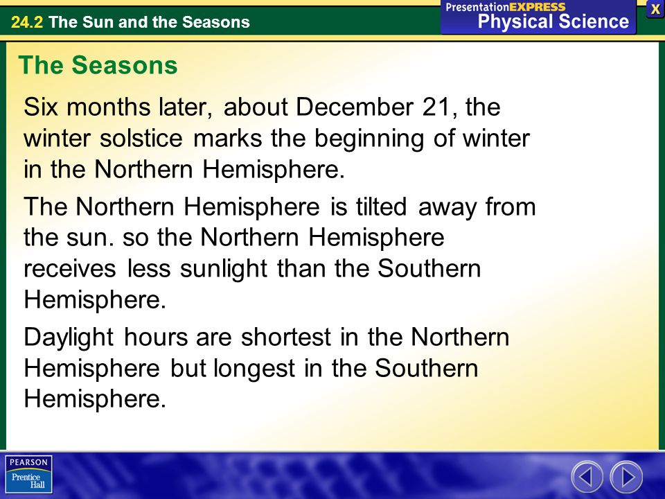 24.2 The Sun and the Seasons Six months later, about December 21, the winter solstice marks the beginning of winter in the Northern Hemisphere.
