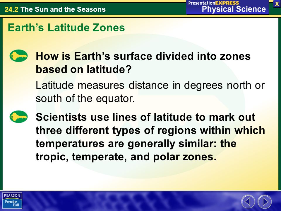 24.2 The Sun and the Seasons Earth's Latitude Zones How is Earth's surface divided into zones based on latitude.