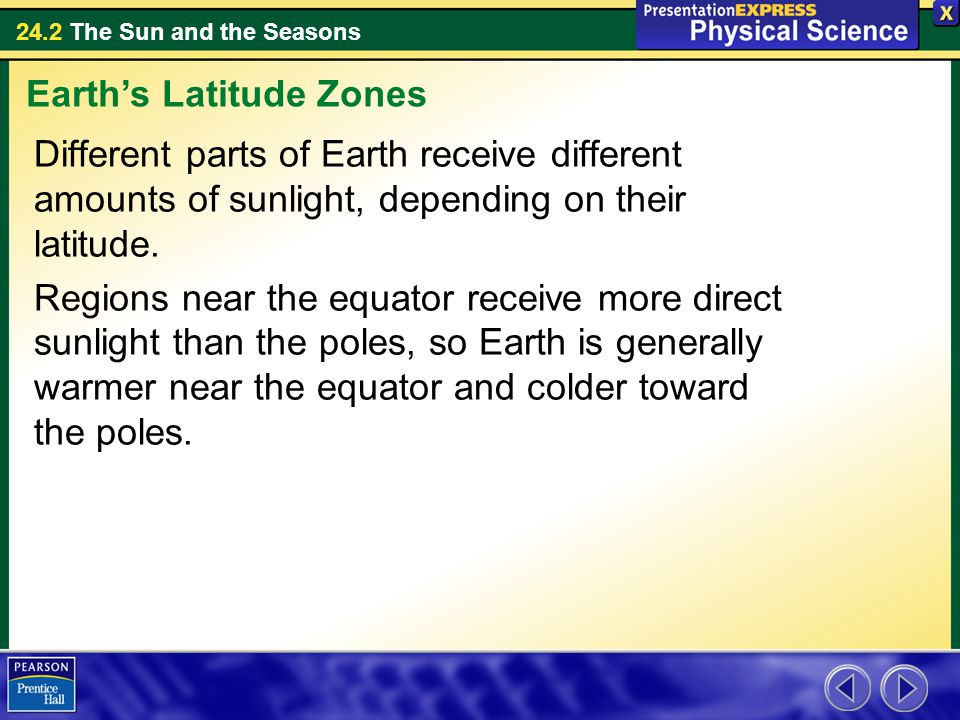 24.2 The Sun and the Seasons Different parts of Earth receive different amounts of sunlight, depending on their latitude.