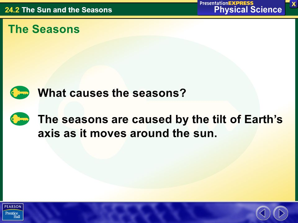 24.2 The Sun and the Seasons The Seasons What causes the seasons.