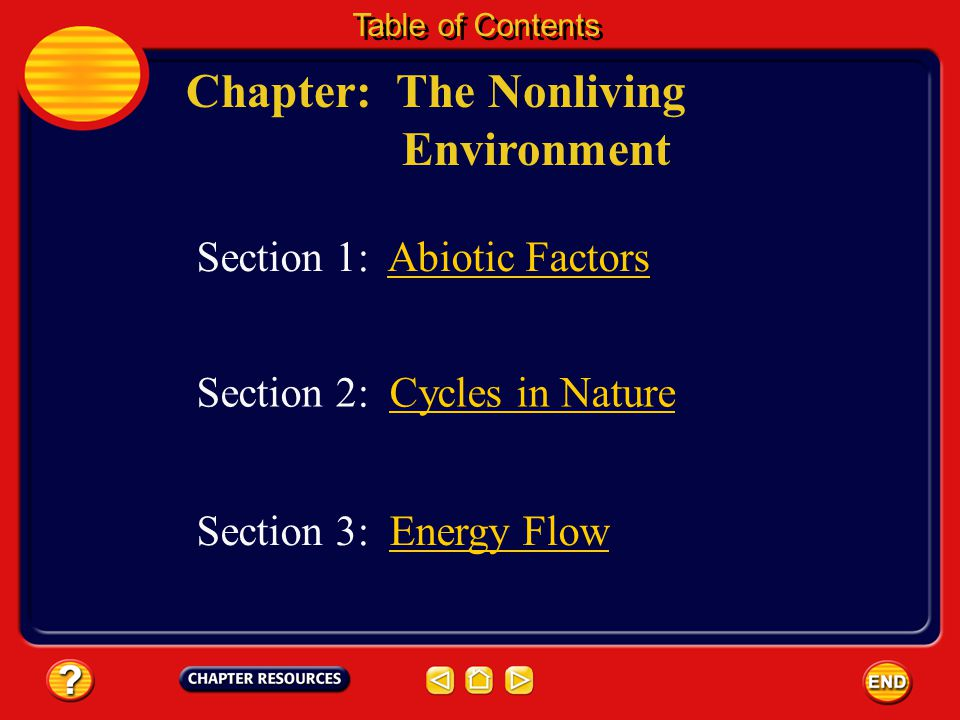 Chapter: The Nonliving Environment Table of Contents Section 3: Energy FlowEnergy Flow Section 1: Abiotic Factors Section 2: Cycles in NatureCycles in Nature