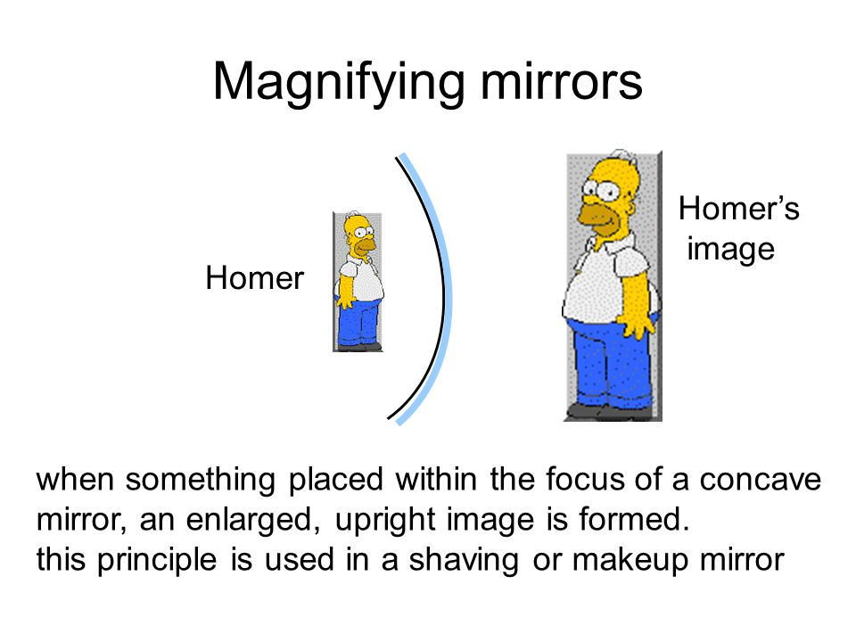 Magnifying mirrors when something placed within the focus of a concave mirror, an enlarged, upright image is formed.