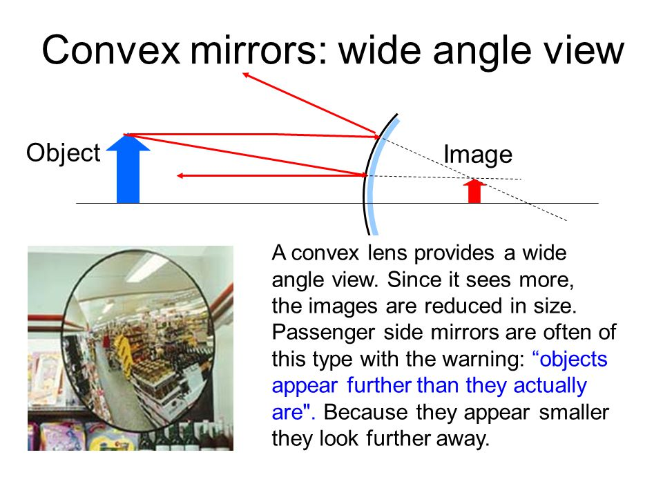 Convex mirrors: wide angle view Object Image A convex lens provides a wide angle view.