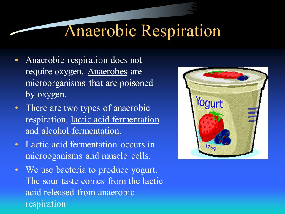 Anaerobic Respiration Anaerobic respiration does not require oxygen. Anaerobes are microorganisms that are poisoned by oxygen. There are two types of