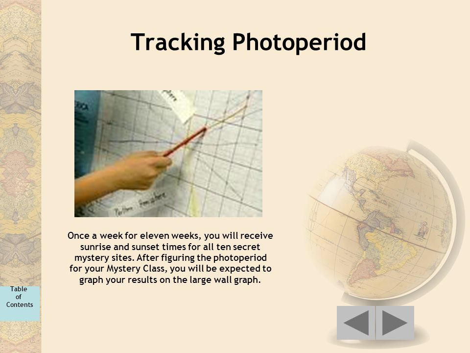 Tracking Photoperiod Once a week for eleven weeks, you will receive sunrise and sunset times for all ten secret mystery sites. After figuring the phot
