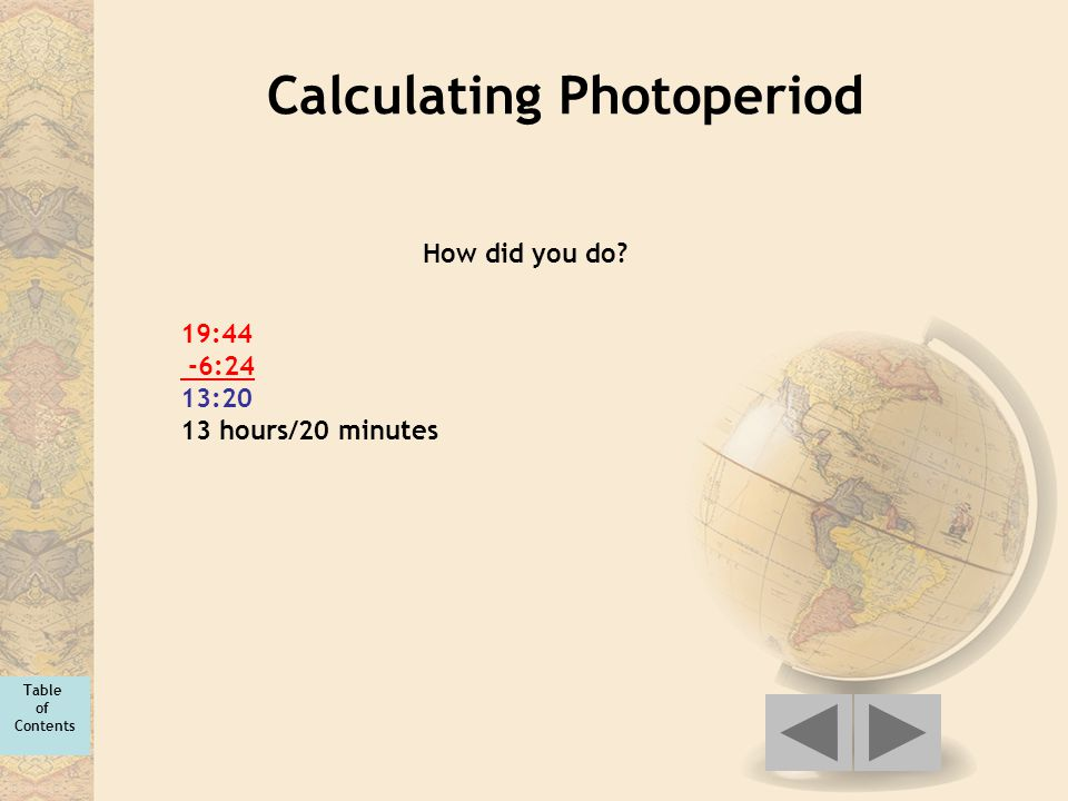 Calculating Photoperiod 19:44 -6:24 13:20 13 hours/20 minutes How did you do? Table of Contents