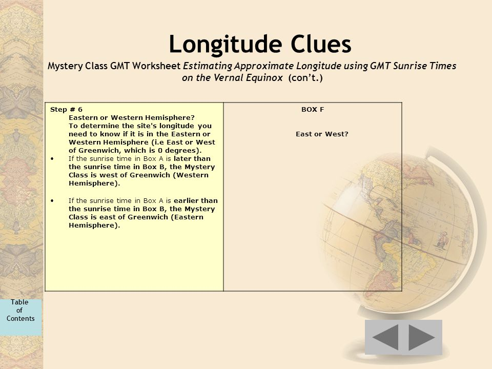 Longitude Clues Mystery Class GMT Worksheet Estimating Approximate Longitude using GMT Sunrise Times on the Vernal Equinox (con't.) Step # 6 Eastern o