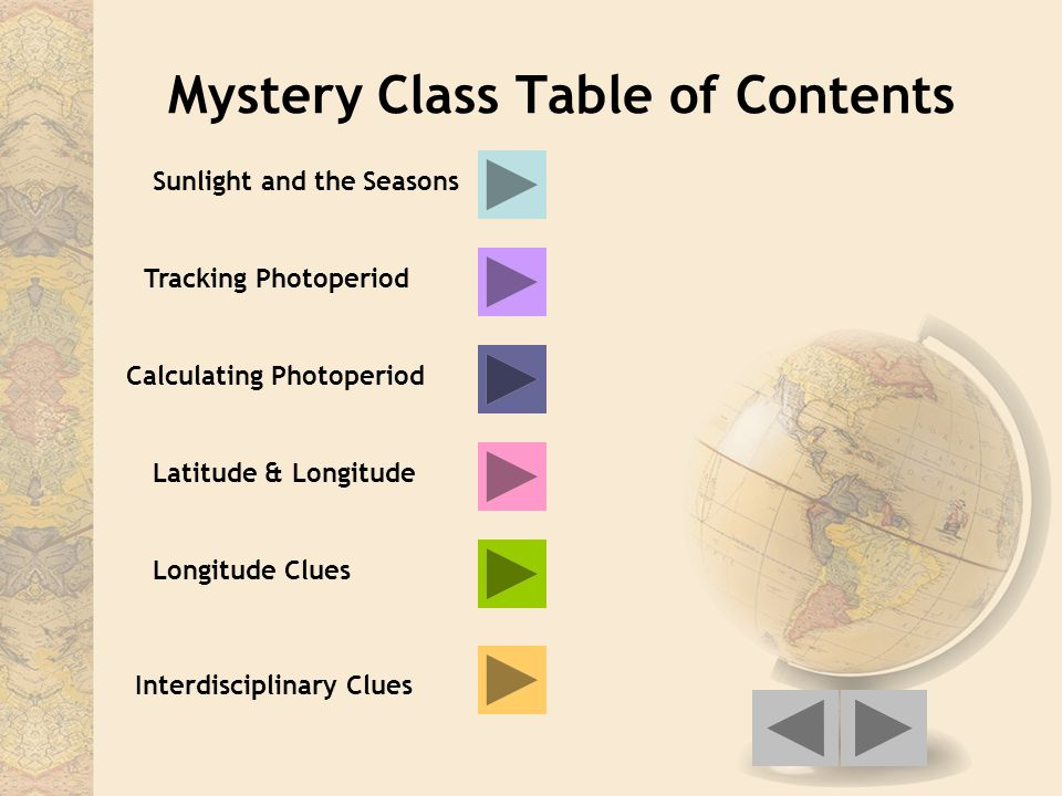 Mystery Class Table of Contents Sunlight and the Seasons Tracking Photoperiod Calculating Photoperiod Latitude & Longitude Longitude Clues Interdiscip