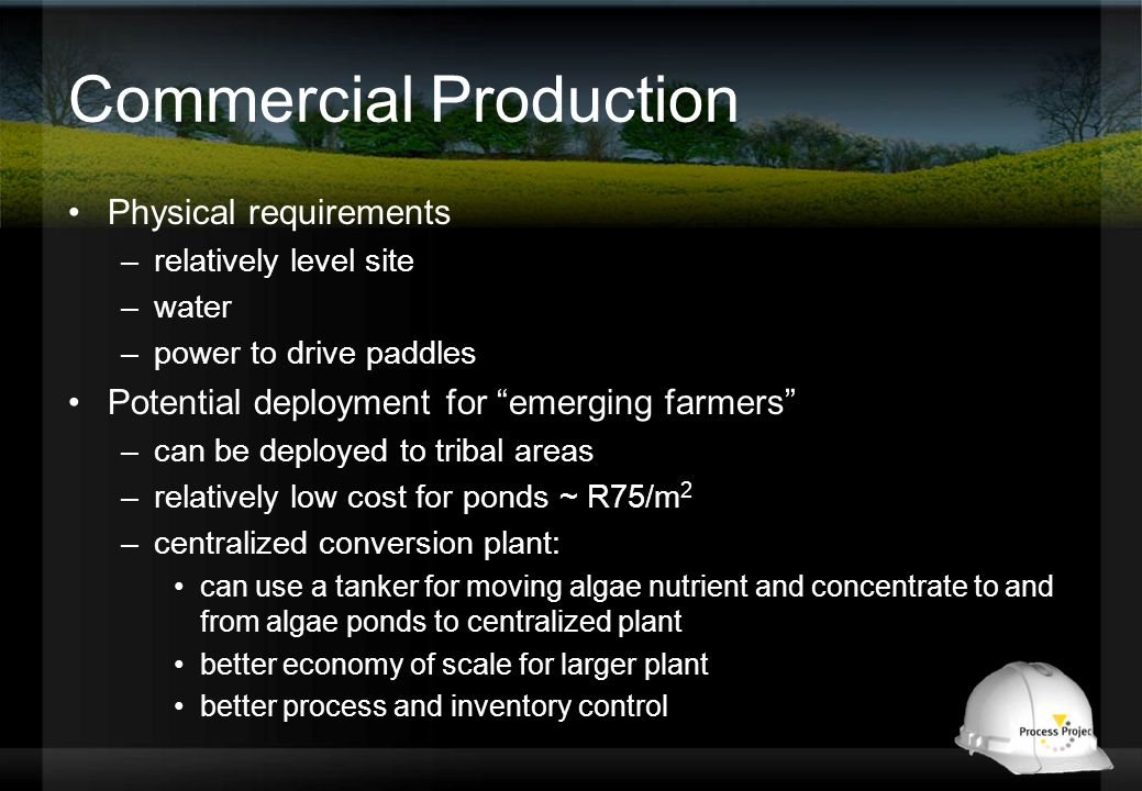 Commercial Production Physical requirements –relatively level site –water –power to drive paddles Potential deployment for emerging farmers –can be deployed to tribal areas –relatively low cost for ponds ~ R75/m 2 –centralized conversion plant: can use a tanker for moving algae nutrient and concentrate to and from algae ponds to centralized plant better economy of scale for larger plant better process and inventory control