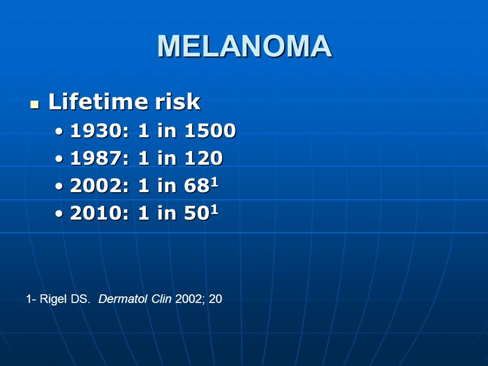 MELANOMA Lifetime risk Lifetime risk 1930: 1 in 15001930: 1 in 1500 1987: 1 in 1201987: 1 in 120 2002: 1 in 68 12002: 1 in 68 1 2010: 1 in 50 12010: 1 in 50 1 1- Rigel DS.
