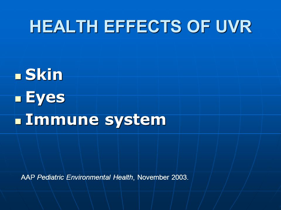 HEALTH EFFECTS OF UVR Skin Skin Eyes Eyes Immune system Immune system AAP Pediatric Environmental Health, November 2003.