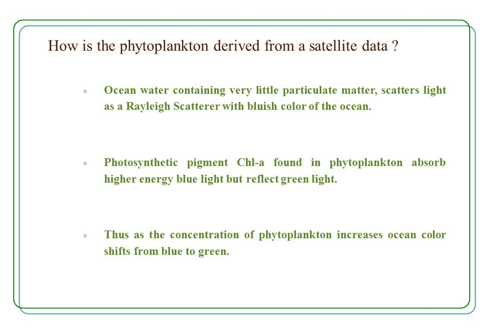 How is the phytoplankton derived from a satellite data .