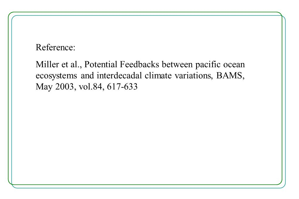 Reference: Miller et al., Potential Feedbacks between pacific ocean ecosystems and interdecadal climate variations, BAMS, May 2003, vol.84, 617-633