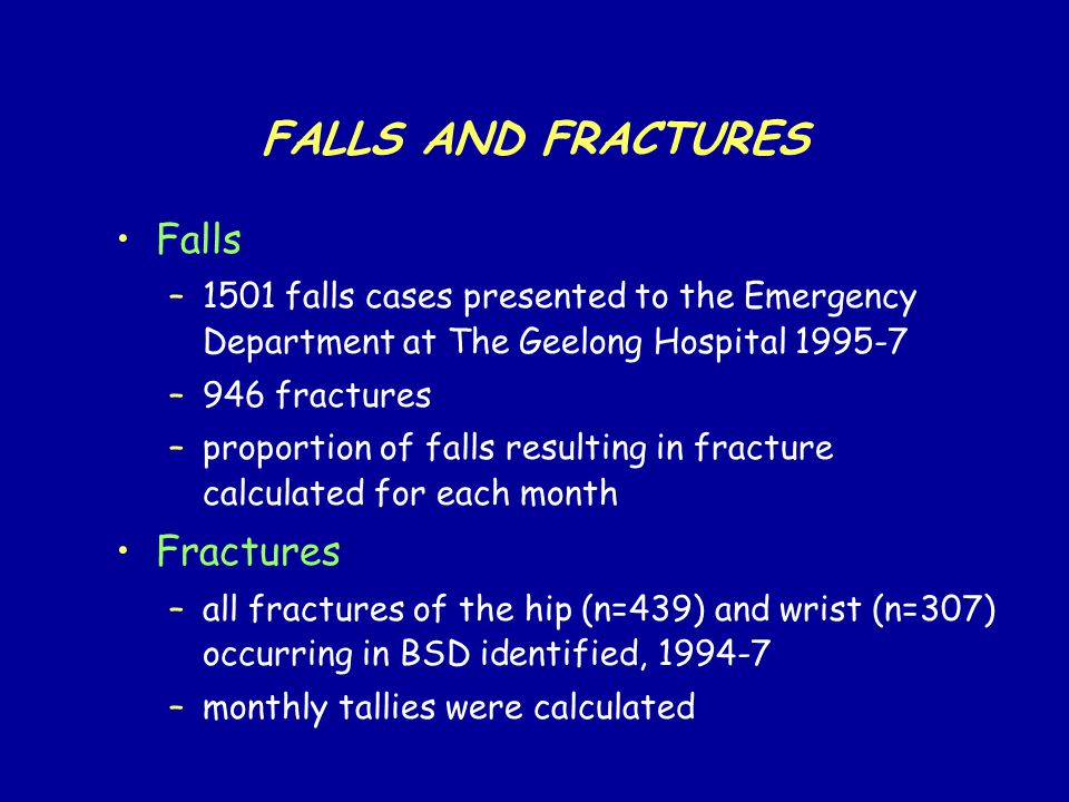 FALLS AND FRACTURES Falls –1501 falls cases presented to the Emergency Department at The Geelong Hospital 1995-7 –946 fractures –proportion of falls resulting in fracture calculated for each month Fractures –all fractures of the hip (n=439) and wrist (n=307) occurring in BSD identified, 1994-7 –monthly tallies were calculated