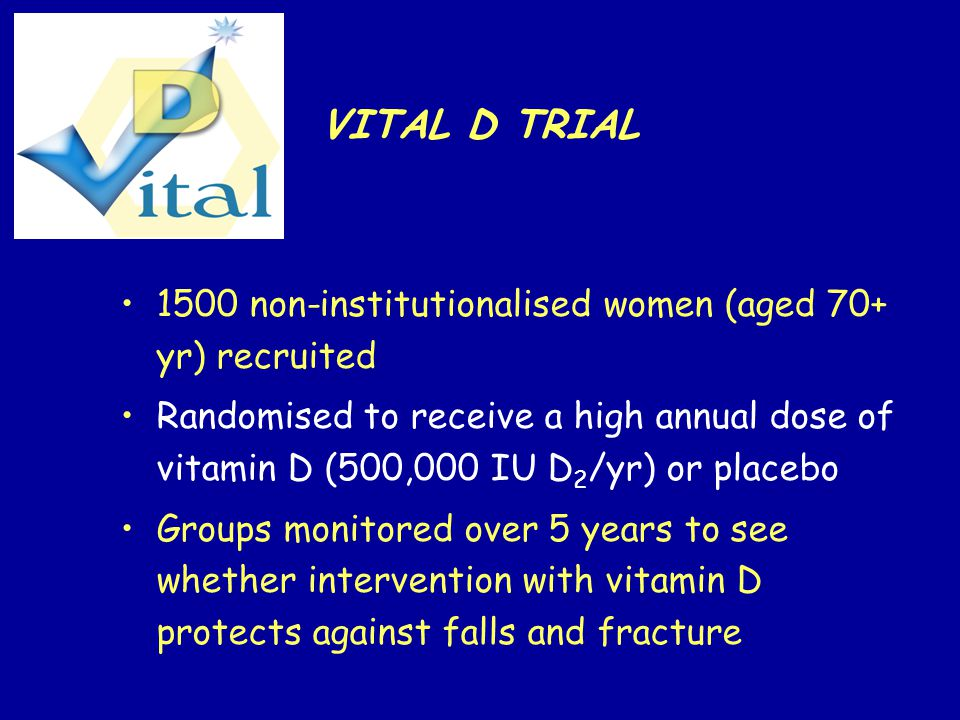 VITAL D TRIAL 1500 non-institutionalised women (aged 70+ yr) recruited Randomised to receive a high annual dose of vitamin D (500,000 IU D 2 /yr) or placebo Groups monitored over 5 years to see whether intervention with vitamin D protects against falls and fracture