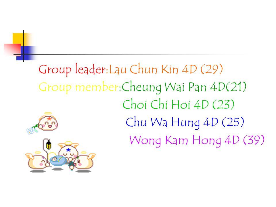 Group leader:Lau Chun Kin 4D (29) Group member:Cheung Wai Pan 4D(21) Choi Chi Hoi 4D (23) Chu Wa Hung 4D (25) Wong Kam Hong 4D (39)