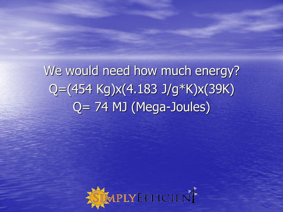 We would need how much energy? Q=(454 Kg)x(4.183 J/g*K)x(39K) Q= 74 MJ (Mega-Joules)