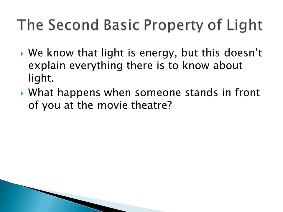  We know that light is energy, but this doesn't explain everything there is to know about light.  What happens when someone stands in front of you a