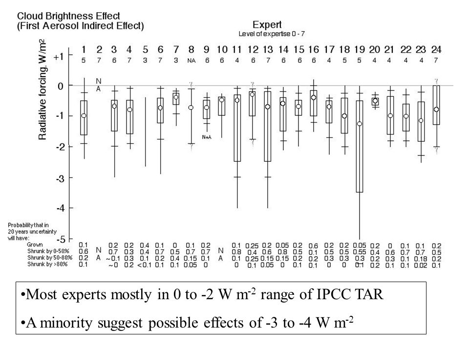 Most experts mostly in 0 to -2 W m -2 range of IPCC TAR A minority suggest possible effects of -3 to -4 W m -2