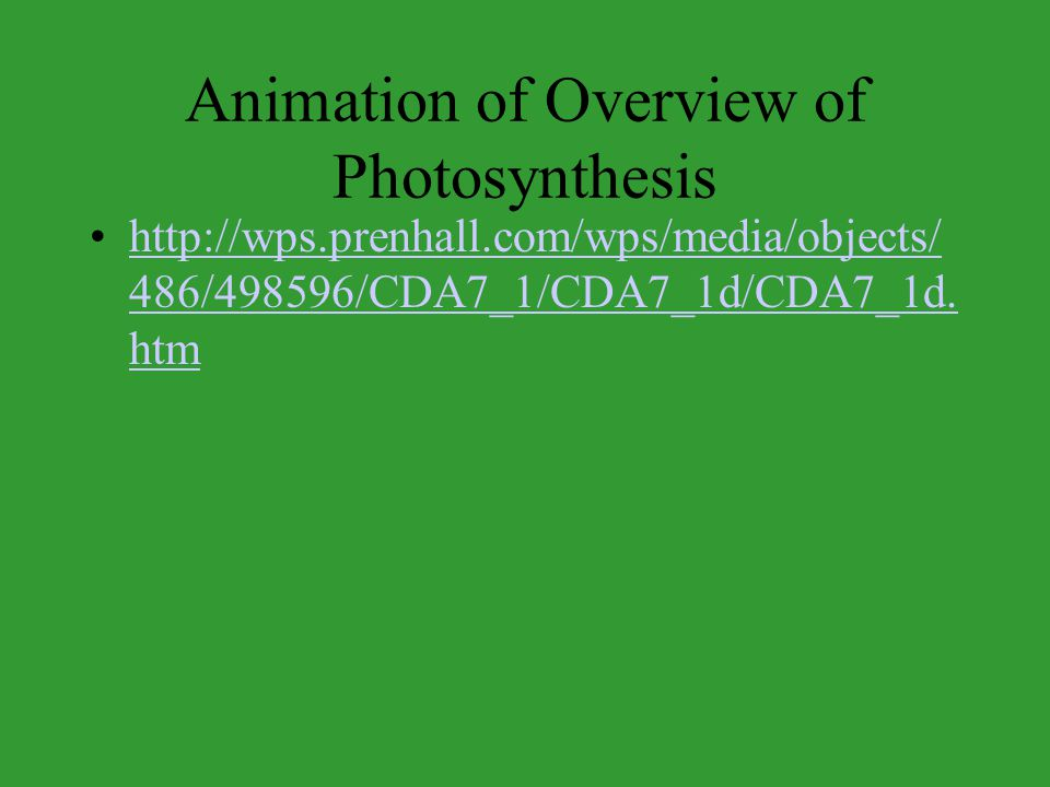 Animation of Overview of Photosynthesis http://wps.prenhall.com/wps/media/objects/ 486/498596/CDA7_1/CDA7_1d/CDA7_1d. htmhttp://wps.prenhall.com/wps/m