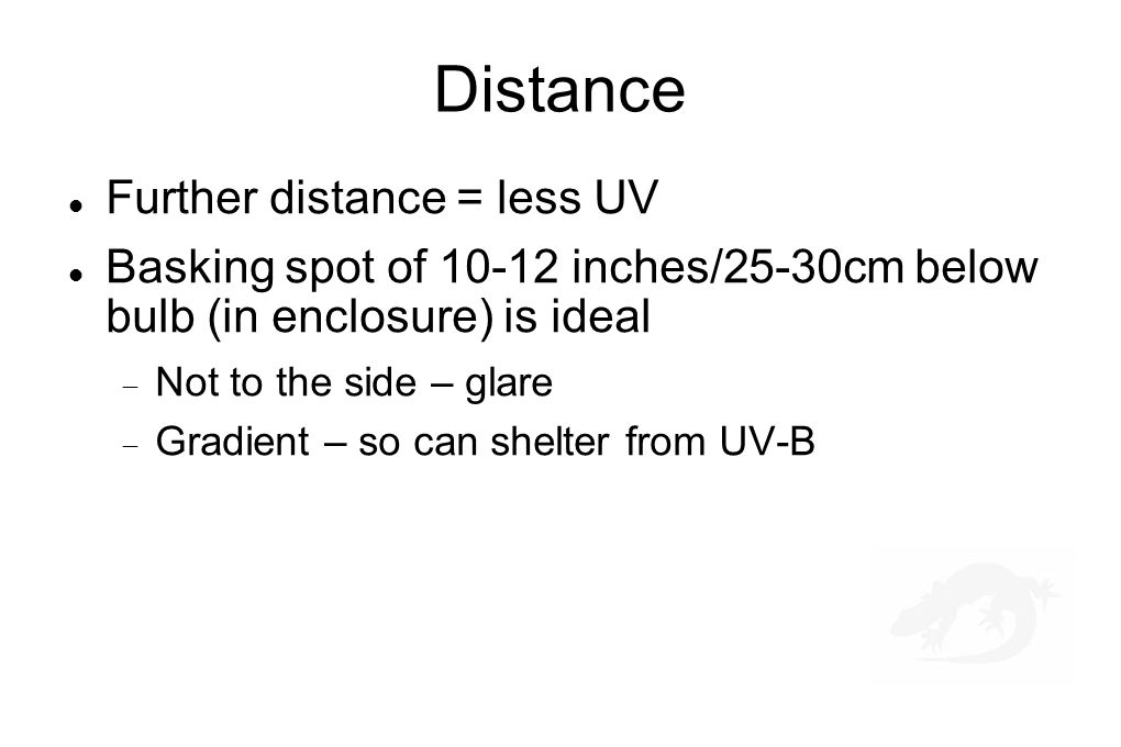 Distance Further distance = less UV Basking spot of 10-12 inches/25-30cm below bulb (in enclosure) is ideal  Not to the side – glare  Gradient – so can shelter from UV-B