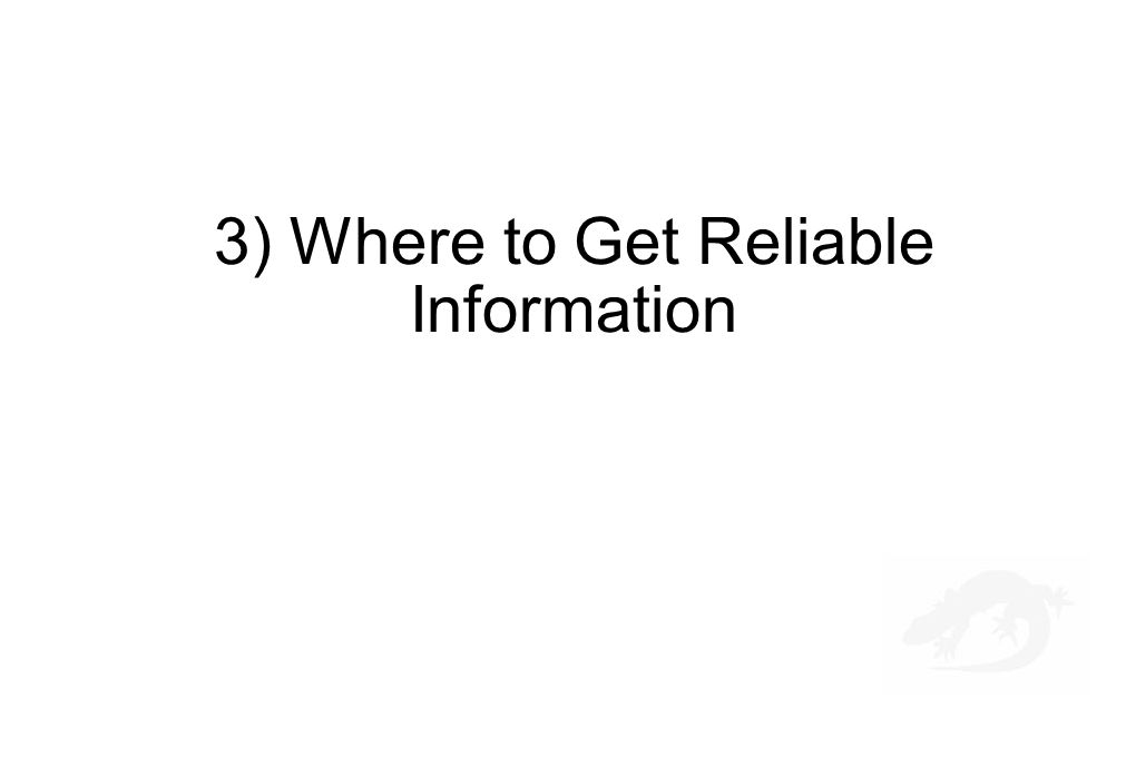 3) Where to Get Reliable Information