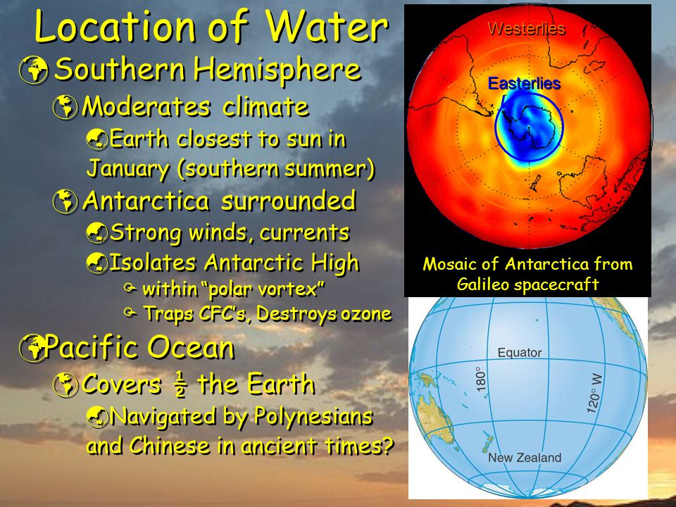 Location of Water Southern Hemisphere  Moderates climate  Earth closest to sun in January (southern summer)  Antarctica surrounded  Strong winds, currents  Isolates Antarctic High  within polar vortex  Traps CFC's, Destroys ozone Pacific Ocean  Covers ½ the Earth  Navigated by Polynesians and Chinese in ancient times.