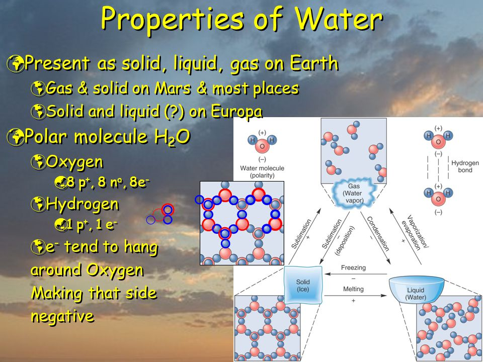Properties of Water Present as solid, liquid, gas on Earth  Gas & solid on Mars & most places  Solid and liquid (?) on Europa Polar molecule H 2 O 