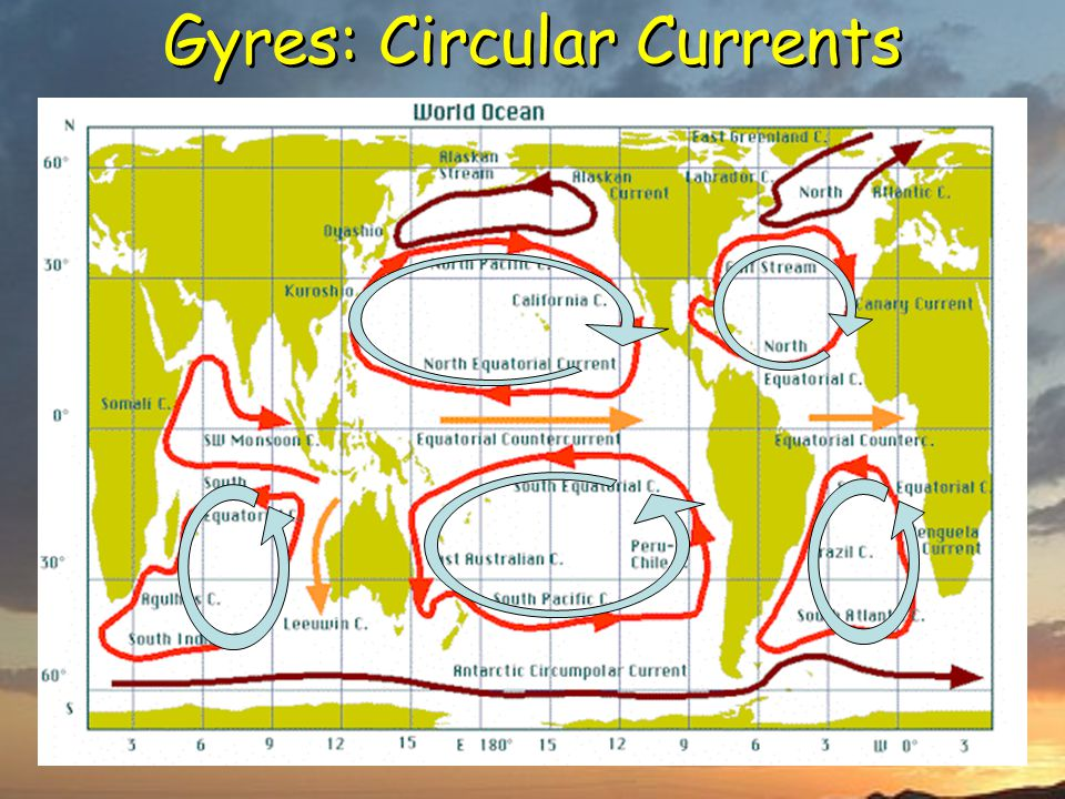 Gyres: Circular Currents Turning and turning in the widening gyre The falcon cannot hear the falconer; Things fall apart; the centre cannot hold; Will
