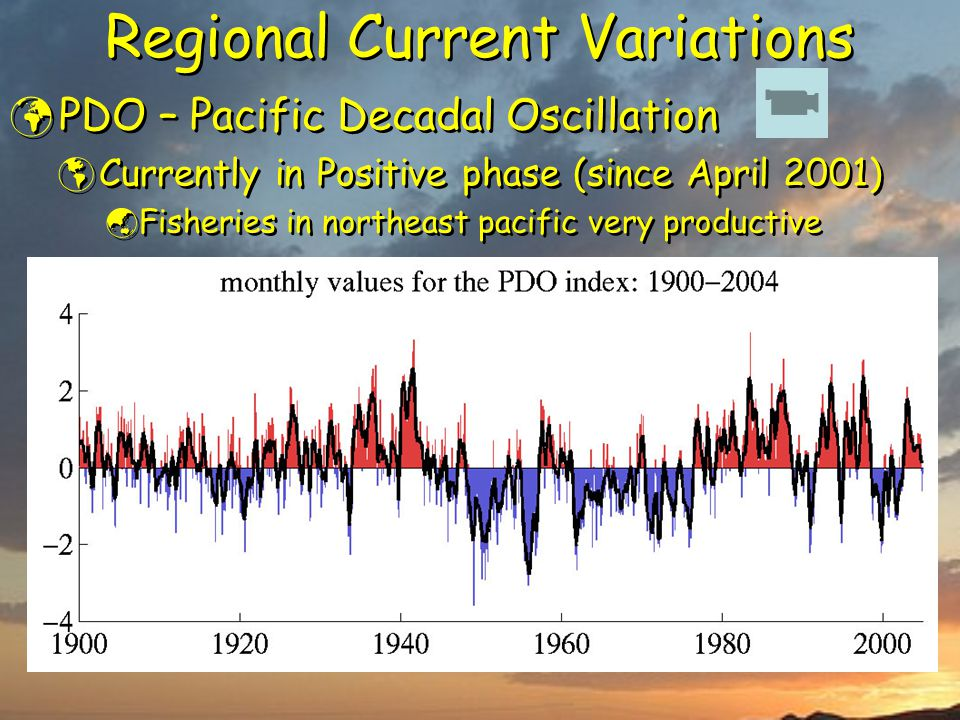 Regional Current Variations PDO – Pacific Decadal Oscillation  Currently in Positive phase (since April 2001)  Fisheries in northeast pacific very productive PDO – Pacific Decadal Oscillation  Currently in Positive phase (since April 2001)  Fisheries in northeast pacific very productive