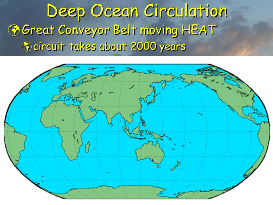 Deep Ocean Circulation Great Conveyor Belt moving HEAT  circuit takes about 2000 years Great Conveyor Belt moving HEAT  circuit takes about 2000 yea