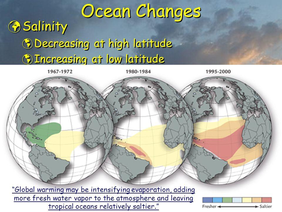 Ocean Changes Salinity  Decreasing at high latitude  Increasing at low latitude Salinity  Decreasing at high latitude  Increasing at low latitude