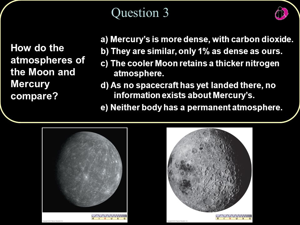 How do the atmospheres of the Moon and Mercury compare.